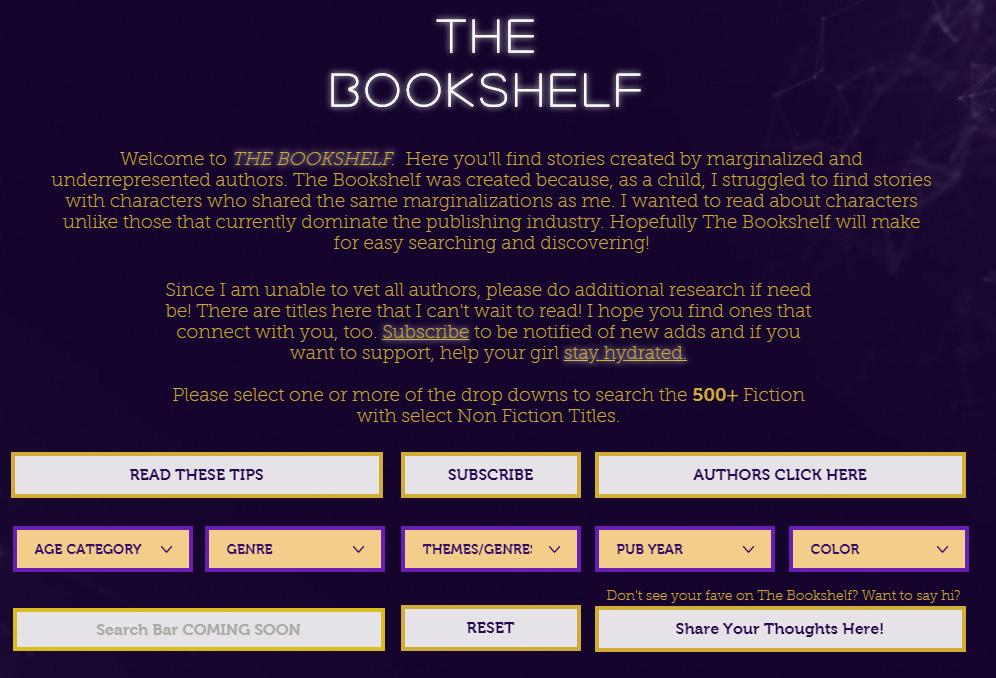 Screenshot:  The Bookshelf